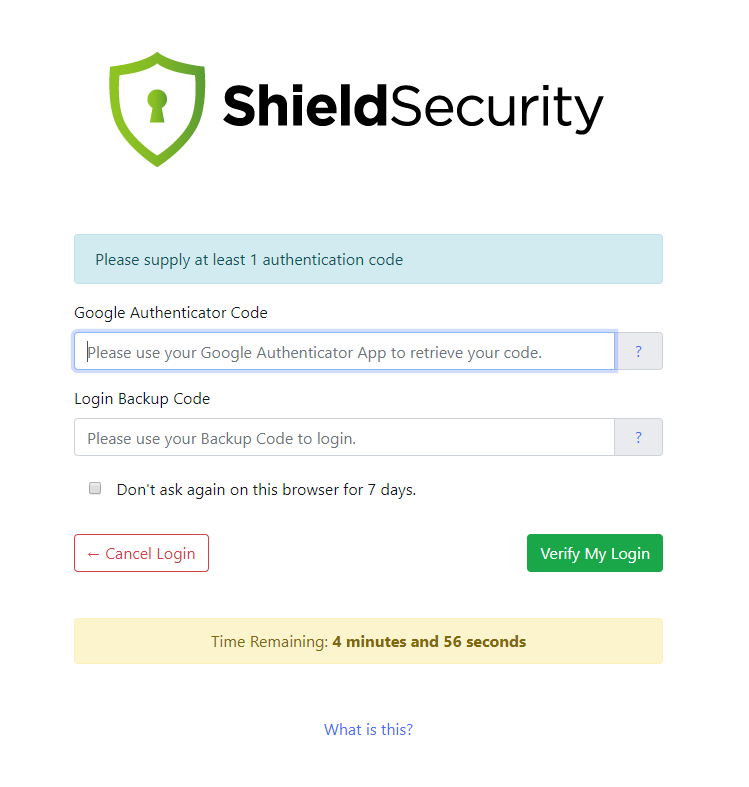Shield Security Two-Factor Authentication Login Page