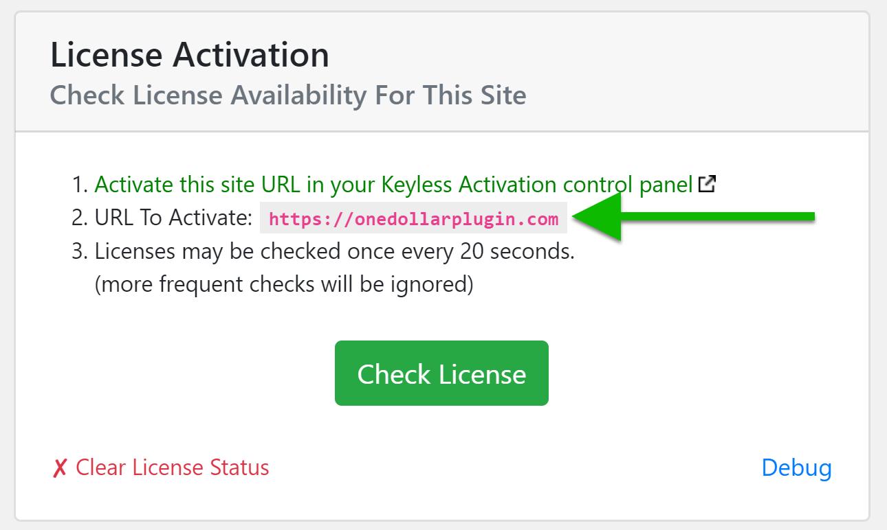 Screenshot: Shield Security PRO Activation URL