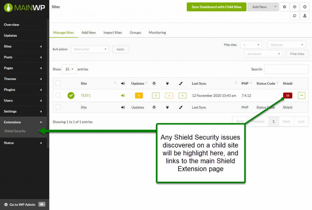 Screenshot: Shield Security Extension for MainWP sites listing